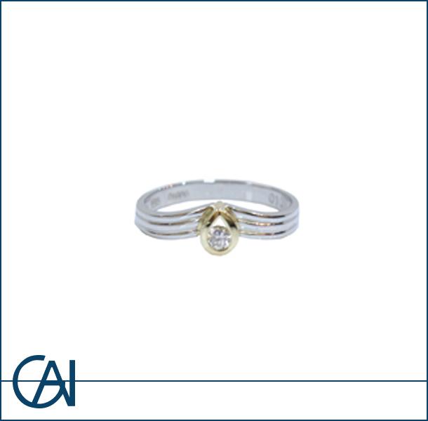 K18WG PT900 D0.1ct ダイヤモンド リング