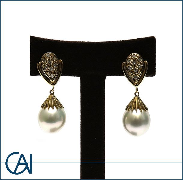 GAI ~Original Jewelry~K18YG パール ダイヤモンド K18/D0.12ct  ピアス