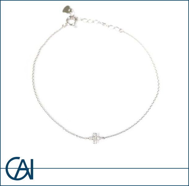 K18WG クロスダイヤモンド ブレス D0.06ct